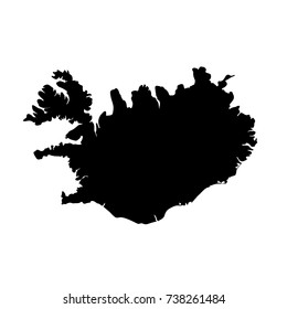 Vector map Iceland. Isolated vector Illustration. Black on White background. EPS 10 Illustration.