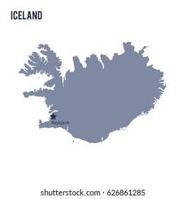 Grey map iceland indication reykjavik stock photo photo vector vector map of iceland isolated on white background travel vector illustration gumiabroncs Choice Image