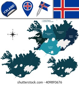 Vector map of Iceland with named regions and travel icons