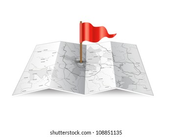 Vector map icon with red flag