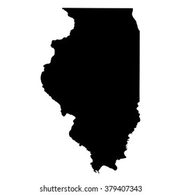 Vector map Illinois. Isolated vector Illustration. Black on White background. EPS Illustration.