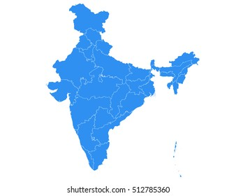 Vector map india country on white background