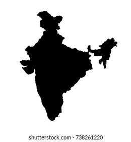 Vector map India. Isolated vector Illustration. Black on White background. EPS 10 Illustration.