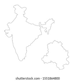 Vector map India and New Delhi. Country and capital. Isolated vector Illustration. Outline. EPS 10 Illustration.