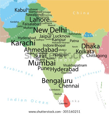 Vector Map India Pakistan Largest Cities Stock Vector Royalty Free
