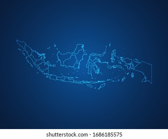 Vector map of Indonesia abstract blue line scales on dark background.