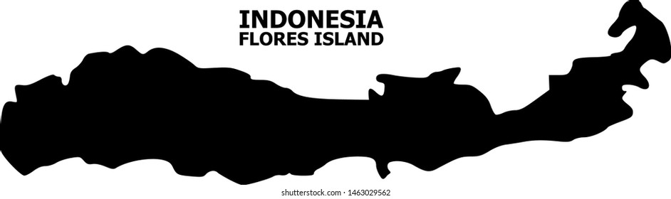 Vector Map of Indonesia - Flores Island with name. Map of Indonesia - Flores Island is isolated on a white background. Simple flat geographic map.