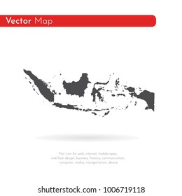 Vector map Indonesia. Isolated vector Illustration. Black on White background. EPS 10 Illustration.