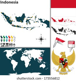 Jakarta indonesia stock illustrations images vectors shutterstock vector map of indonesia with regions coat of arms and location on world map gumiabroncs Images