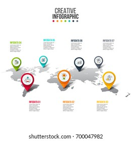 Vector map infographic. Template for global or travel presentation. Business concept with 7 options, parts, steps or processes. Timeline concept.
