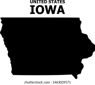 Vector Map of Iowa State with name. Map of Iowa State is isolated on a white background. Simple flat geographic map.