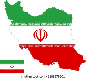 Vector map of Iran with flag. Isolated, white background