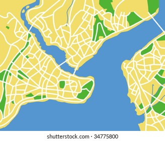 Vector map of Istanbul.