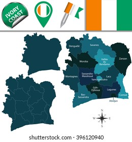 Vector map of Ivory Coast with named districts and travel icons