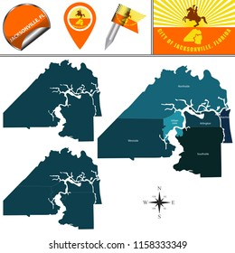 Vector map of Jacksonville, Florida with named neighborhoods and travel icons