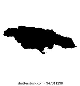 Vector map Jamaica. Isolated vector Illustration. Black on White background. EPS Illustration.