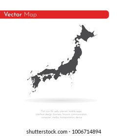 Vector map Japan. Isolated vector Illustration. Black on White background. EPS 10 Illustration.