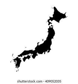 Vector map Japan. Isolated vector Illustration. Black on White background. EPS 8 Illustration.