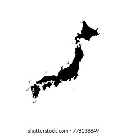 Vector map Japan. Isolated vector Illustration. Black on White background