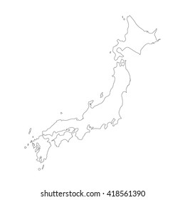 Vector map Japan. Outline map. Isolated vector Illustration. Black on White background. EPS 8 Illustration.