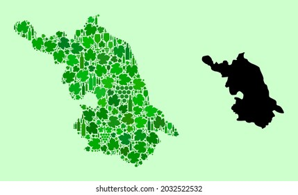 Vector Map of Jiangsu Province. Collage of green grapes, wine bottles. Map of Jiangsu Province mosaic composed with bottles, grapes, green leaves.