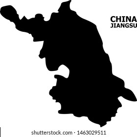 Vector Map of Jiangsu Province with title. Map of Jiangsu Province is isolated on a white background. Simple flat geographic map.