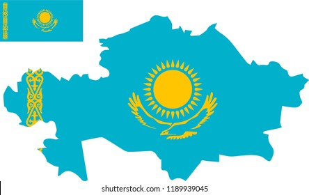 Vector map of Kazakhstan with flag. Isolated, white background