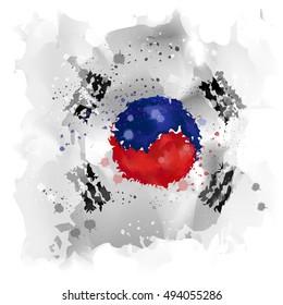 vector Map of Korea Watercolor paint