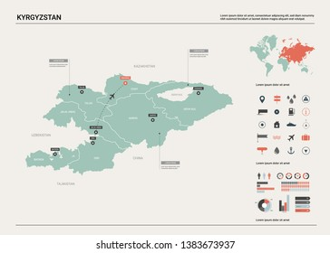 Vector map of Kyrgyzstan. High detailed country map with division, cities and capital Bishkek. Political map,  world map, infographic elements.