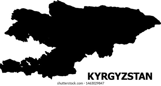Vector Map of Kyrgyzstan with title. Map of Kyrgyzstan is isolated on a white background. Simple flat geographic map.
