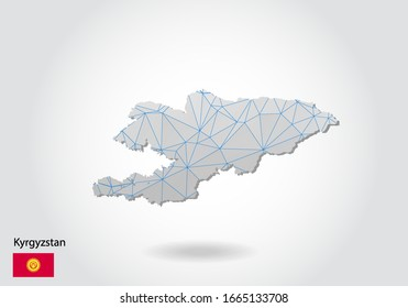 Vector map of Kyrgyzstan with trendy triangles design in polygonal style on dark background, map shape in modern 3d paper cut art style. layered papercraft cutout design.