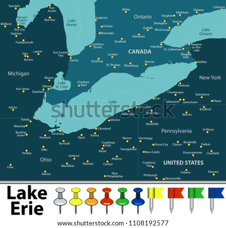Vector Map Lake Erie Countries Big Stock Vector Royalty Free
