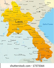 Vector map of Laos country