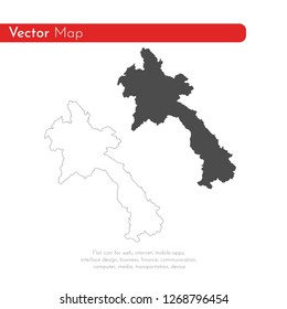 Vector map Laos. Isolated vector Illustration. Black on White background. EPS 10 Illustration.