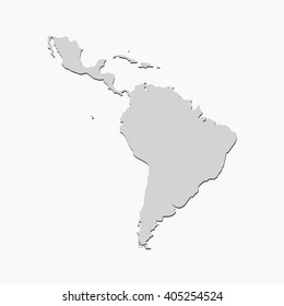 Vector map Latin America. Gray Isolated vector Illustration. On Grey background. With shadow. EPS 10 Illustration.