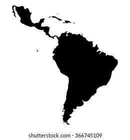 Vector map Latin America. Isolated vector Illustration. Black on White background. EPS Illustration.