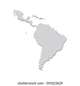 Vector map Latin America. Isolated vector Illustration. Gray on White background. With shadow. EPS 10 Illustration.