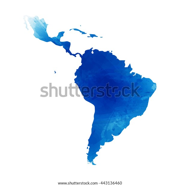 Vector map Latin America. Isolated vector Illustration. Watercolor effect. EPS 10 Illustration.