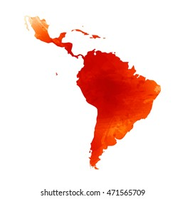 Vector map Latin America. Watercolor orange effect. Illustration 10 EPS.