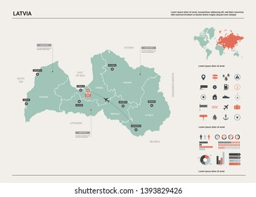 Vector map of Latvia. High detailed country map with division, cities and capital Riga. Political map,  world map, infographic elements.