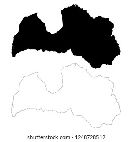 Vector map Latvia. Isolated vector Illustration. Outline and vector. Black on White background. EPS 10 Illustration.