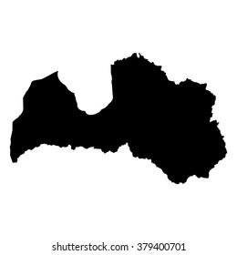 Vector map Latvia. Isolated vector Illustration. Black on White background. EPS Illustration.