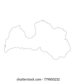 Vector map Latvia. Isolated vector Illustration. Black on White background. EPS 10 Illustration.