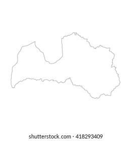 Vector map Latvia. Outline map. Isolated vector Illustration. Black on White background. EPS 8 Illustration.
