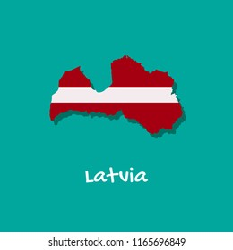 Vector map of Latvia painted in the colors of the flag. The country's borders with shadow. Isolated vector illustration.