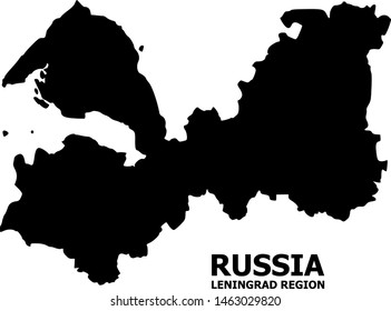 Vector Map of Leningrad Region with name. Map of Leningrad Region is isolated on a white background. Simple flat geographic map.