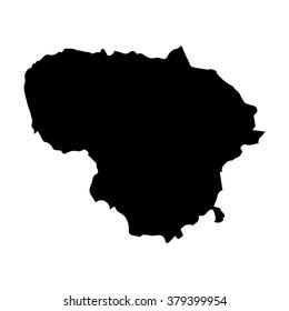 Vector map Lithuania. Isolated vector Illustration. Black on White background. EPS Illustration.