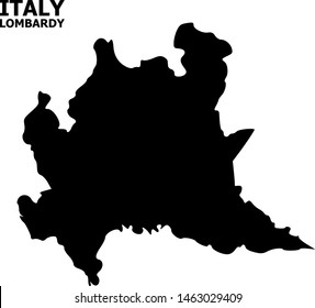 Vector Map of Lombardy region with name. Map of Lombardy region is isolated on a white background. Simple flat geographic map.