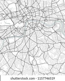 Vector map of London in black and white, city map simple style