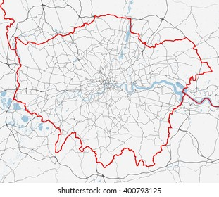 Vector map of London city. roads